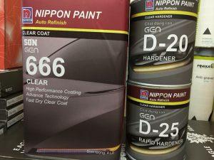 Đặc tính sản phẩm :Học kế toán quản trị  Nippon 666 là dầu bóng 2 thành phần gốc Acrylic Urethane có hàm lượng rắn cao với độ nhớt vừa phải. Sản phẩm có những đặc điểm như nhanh khô, cung cấp độ bóng cao, cho bề mặt độ láng bóng phẳng tuyệt đối, sáng đẹp và bền màu với thời tiết. Được chế tạo thích ứng với màu phủ bóng 1 thành phần, sản phẩm này sử dụng chuyên cho hệ thống sơn dặm vá hay sơn mới toàn bộ  Bề mặt và sự chuẩn bị bề mặt :  Sản phẩm thích hợp cho các bề mặt :  _ Bề mặt đã được sơn phủ màu 1 thành phần  _ Bề mặt đã được sơn phủ màu 2 thành phần  _ Bề mặt sơn lót hoặc sơn cũ trong điều kiện còn tốt và đã được sử lý bề mặt  Quy trình thi công :báo cáo tài chính bao gồm  Sản phẩn sử dụng kèm :  _ Chất đóng rắn D20, D25  _ Dung môi pha loãng  Tỉ lệ pha và thời gian sử dụng :  Lít  666                              1  D20,D25                         0,5  Dung môi                       0,1 – 0,2  Sau khi đã trộn đúng tỉ lệ cần thiết hỗn hợp đạt độ nhớt 35 – 40s với cốc 4 (BSB4) và thời gian sử dụng cho phép 2h dưới nhiệt độ 200C  Khuyến cáo cách thi công :  Sơn toàn bộ bề mặt đến những chỗ giáp lai, nếu sơn dặm vá bằng dầu bóng 2K thì phải sơn che phủ hết lớp sơn màu. Chỉ sơn dặm lan đến những khu vực đã được chuẩn bị chà nhám và sử lý bề mặt, khuyến cáo sử dụng dung môi dặm vá để phá mí. Sơn 2 – 3 lớp độ dày từ 40 – 60 micron với áp suất súng phun 40 – 50 psi, cỡ súng 1,4 – 1,6mm. Đợi từ 5 – 8 phút trước khi sơn lớp tiếp theo và 10 – 15 phút sau khi hoàn thành.  Thời gian khô :  Tự nhiên (25oC) Sấy (80oC)  Khô không dính bụi 20 – 30 phút 10 phút  Khô cho việc lắp ráp 12 giờ 30 phút  Khô cho đánh bóng 16 giờ 45 phút  Sửa chữa và đánh bóng :  Thông thường 666 có độ bóng hoàn hảo ngay từ súng. Tuy nhiên nếu sản phẩm hoàn thiện bị bụi nên chà nhám lại bằng nhám P1200 hoặc loại mịn hơn, sau đó đánh bóng bằng tay hoặc bằng máy với xi 05983 và 06006 để tạo độ bóng cần thiết. Để dễ dàng trong việc đánh bóng nên đánh bóng trong khoảng thời gian 1 – 24h sau khi đưa vào s